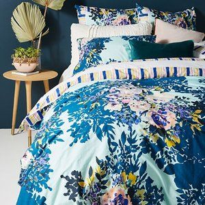 ANTHROPOLOGIE JEWELED GARDEN KING DUVET EURO SHAMS